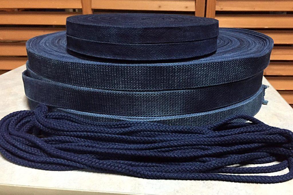 綿テープ染め、綿紐染め:インディゴブルー